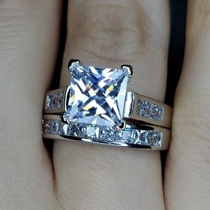 Jewelry - Size 7 White Sapphire & 925 Sterling Ring Set
